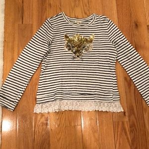 Sparkly Girls XL striped sequins top size XL